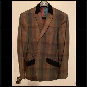 Ted Baker Men's Brown Plaid Blazer Size 40 Reg.